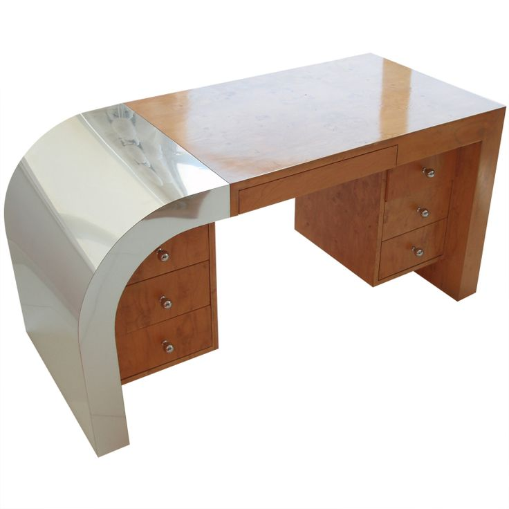 Chrome veneer burl wood writing desk from a unique for Unusual writing desks