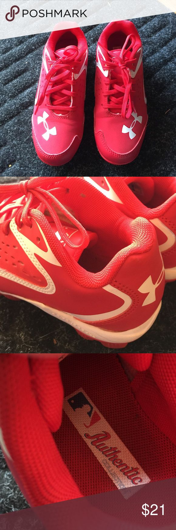 Under Armour kids MLB cleets *LIKE NEW* Size 12K Under Armour MLB red cleets. Worn around the house but never outside. Like new condition! Under Armour Shoes