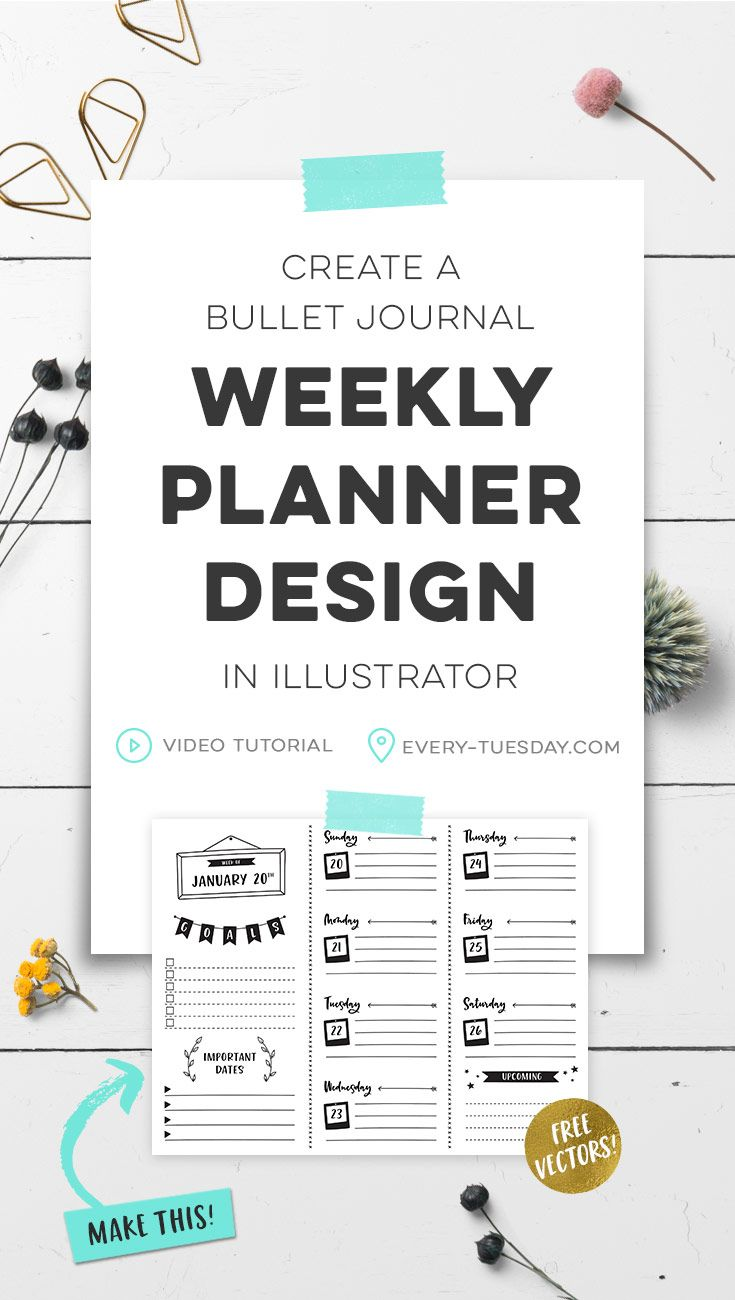 Create A Bullet Journal Weekly Planner Design In Illustrator Every Tuesday Weekly Planner Design Creating A Bullet Journal Planner Design