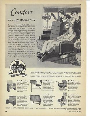 Heywood Wakefield Company Vintage 1951 Print Ad
