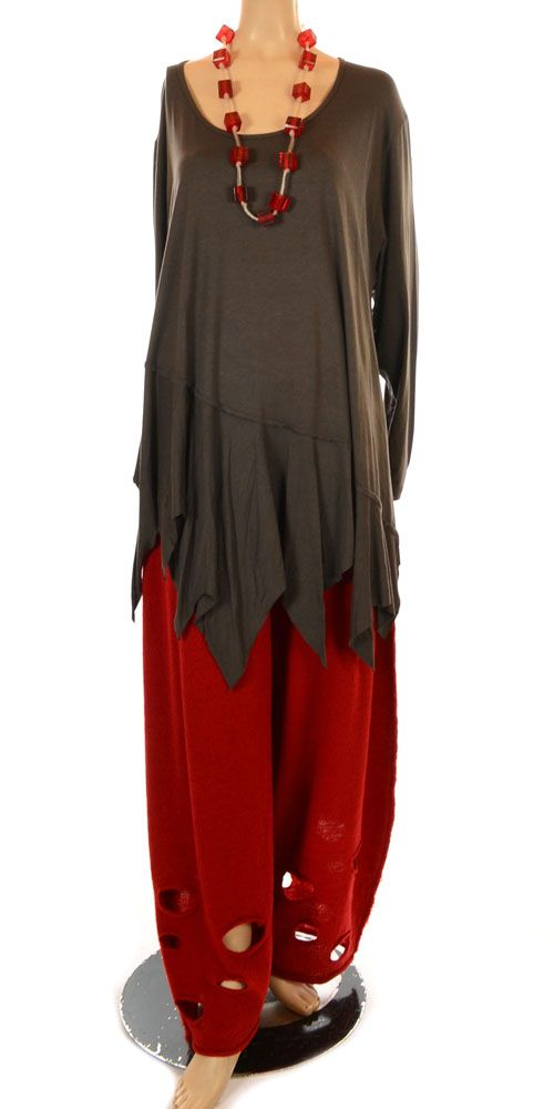 Barbara Speer Dark Grey Long Sleeve Asymmetric Slash Hem Tunic