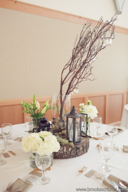 stones to anchor branches Brooks Scribner Photography Christopher Flowers  wedding reception centerpiece manzanita natural lantern white