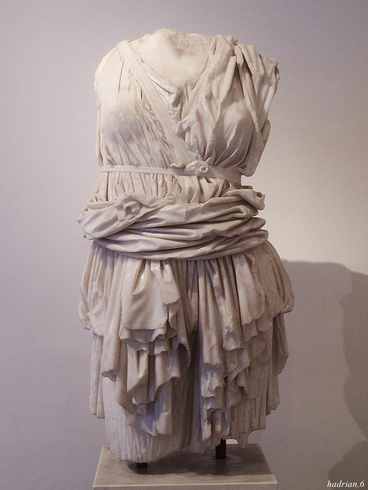 Torso of Artemis.  Note the beauty of the drapery here.  Artemis always wears the chiton hoisted up to facilitate running.