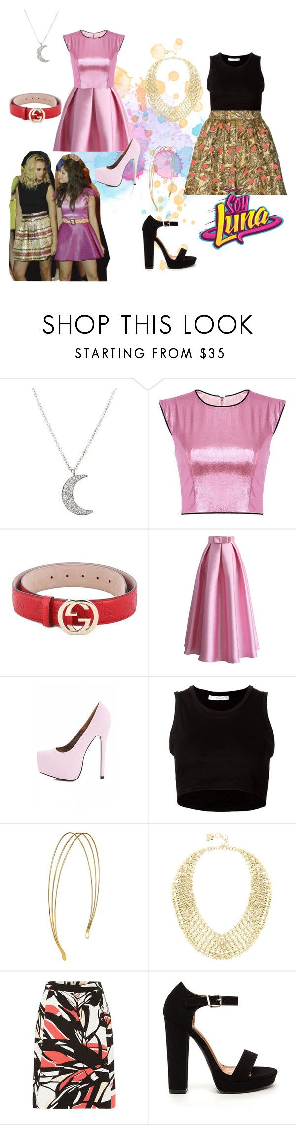 soy luna by maria-cmxiv on Polyvore featuring moda, Julien David, Chicwish, HUGO, AX Paris, BCBGMAXAZRIA, Finn, Gucci and Prada