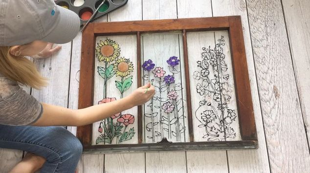 custom stained glass using glue and paint