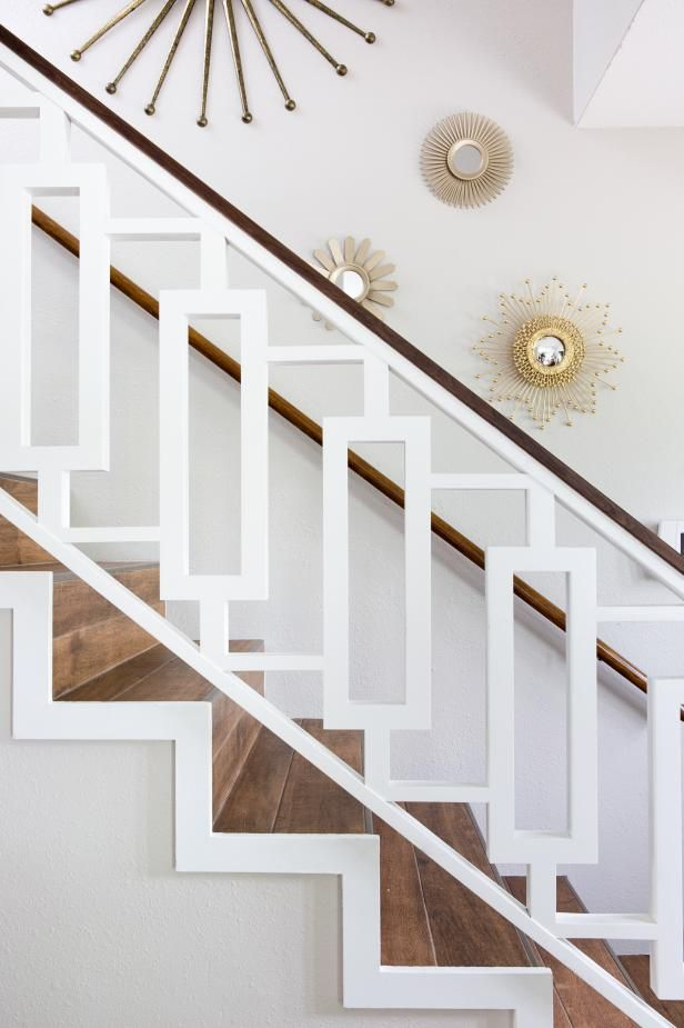 HGTV shows how a custom white midcentury modern banister ...