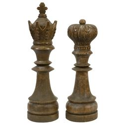 Carved Wooden King and Queen Chess Pieces -- Unique decor for the mantle and a cute wedding gift! --Traditional Decorative Objects And Figurines by IMAX Worldwide Home