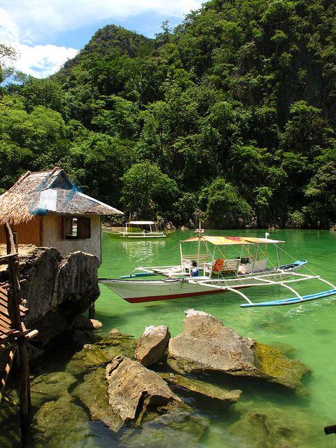 Tagbanua Village on the shores of Kayangan Lake, Philippines