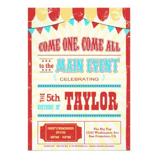 Best Circus Birthday Party Invitations Images On