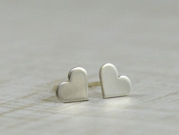 Stud Earrings for teen girls! Sterling Silver Heart Earrings  Handmade Hand by GioielliJewelry, $18.00