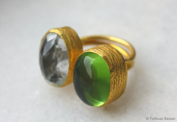 Mahfiruz Ring with Green & Crystal Quartz Stones by TurkuazBazaar, $60.00
