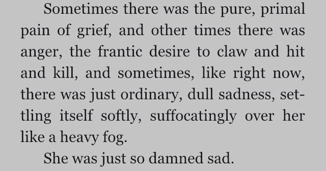 Sometimes there was the pure, primal pain of grief, and other times there was anger, the frantic desire to claw and hit and kill oneself, and sometimes like right now, there is just ordinary, dull sadness, settling itself softly, suffocatingly like a heavy fog.