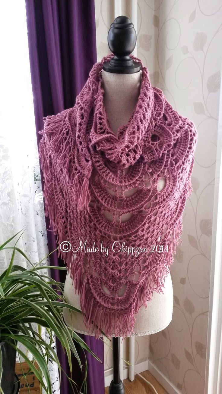 Made by Chippzan: Shawl - with shells and clusters of double crochet - free pattern