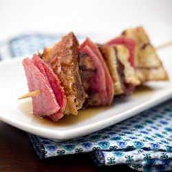 Cinnamon swirl brioche french toast and taylor ham... on a stick :)