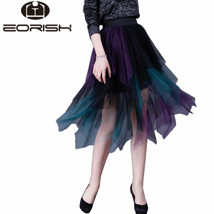 2017 New Fashion Irregular Adult Tulle Skirt Contrast Color Layer Pleated Elastic High Waist Saia Feminina with Ling Saia Tule -*- AliExpress Affiliate's buyable pin. Details on product can be viewed on www.aliexpress.com by clicking the image