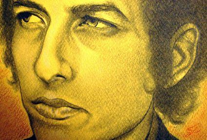 Bob Dylan - primo piano:  primo piano del ritratto di Bob Dylan.