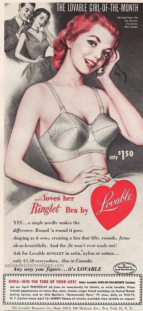 lovable bras ad #vintage #bras #Bulletbras #1950s #lingerie