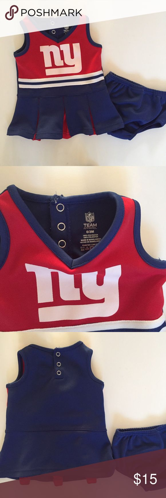 NY Giants cheerleading outfit 2 Piece Outfit. Think it's runs a little bigger than size stated. Gently used. Check out my other listings for Giants gear. Offers accepted on bundles. NFL Matching Sets