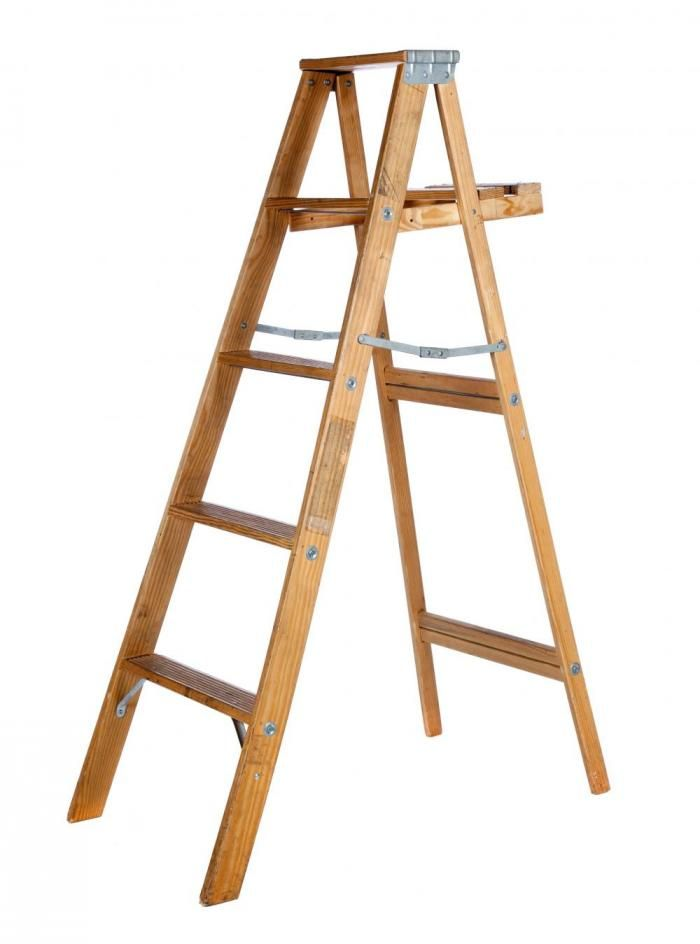 6 Ft Wood Step Ladder Wood Steps Step Ladders Wooden Ladder