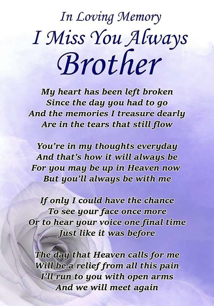 I Miss You Always Brother Memorial Graveside Poem Card ...