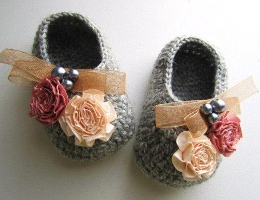 Flowery Beaded Gray Wool Crochet Baby Booties