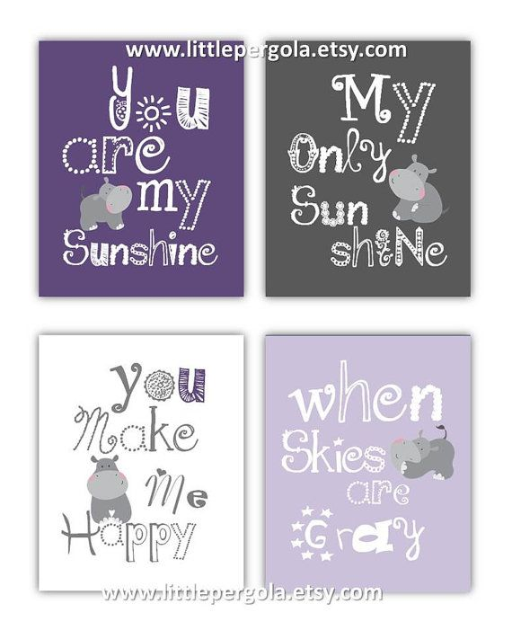 Hippo Art for Kids You are my sunshine Purple and by LittlePergola, $55.00