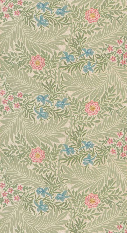 Tapet 81482: Larkspur Green/Coral från William Morris & Co - Tapetorama