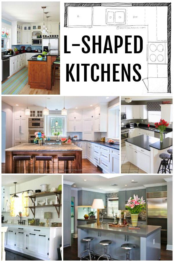 KITCHEN DESIGN | L-Shaped Kitchen Layouts via Remodelaholic.com