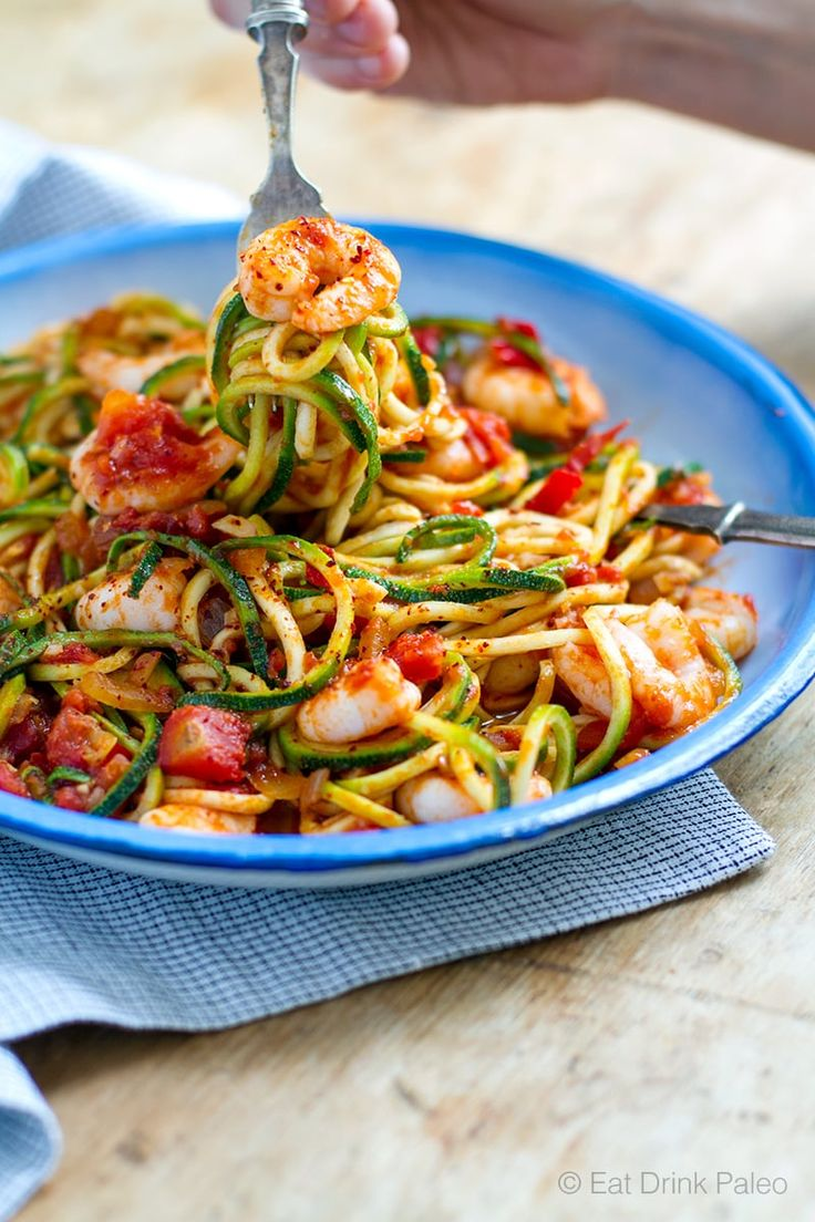 I love this delicious low carb, paleo pasta with succulent shrimp and spicy arrabbiata sauce. All you need is a vegetable spaghetti maker.