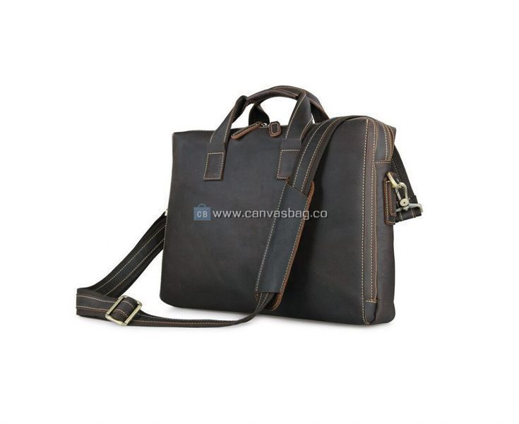 J.M.D Men/'s Crazy Horse Leather Business Briefcase Shoulder Bag 12.5 Inch