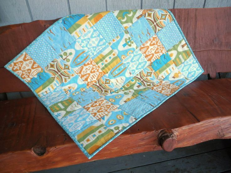 Orange and Aqua Quilt, Retro Look Baby Quilt, Mid Century Style Patchwork Quilt by QuiltedPleasures on Etsy