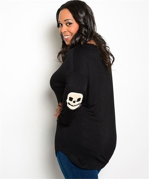 Ladies Plus Size Long Sleeve Top with Skull patch on elbow