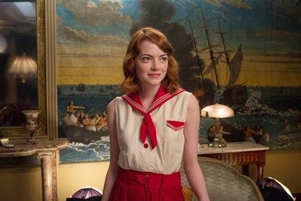 Emma Stone wearing an adorable sailor-style outfit in Woody Allen's 2014 film 'Magic in the Moonlight'. The rest of her wardrobe in this film is also wonderful!