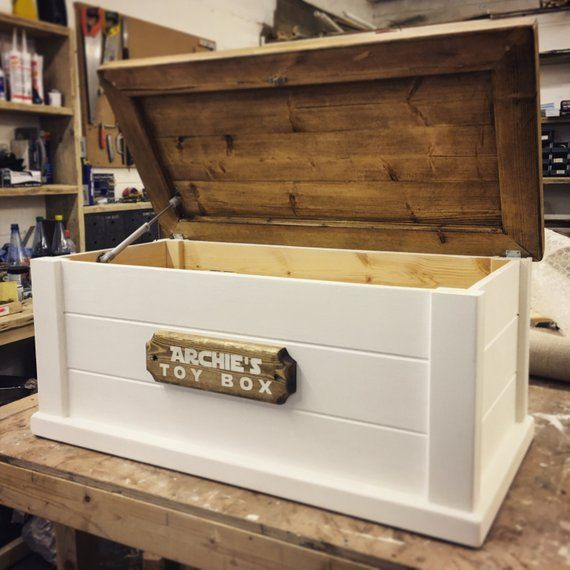 Personalised Toy Box Bespoke Soft Close Lid Customised Name Etsy Personalised Toy Box Toy Boxes Diy Furniture Projects