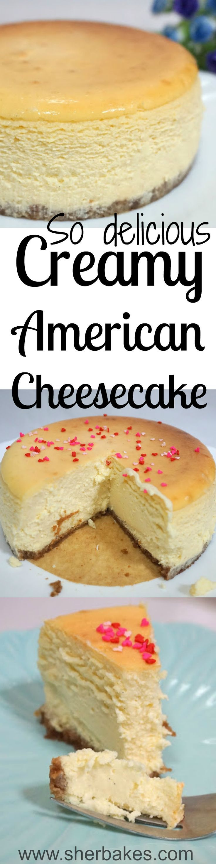 Cremosa tarta de queso americana es muy delicioco en el Estados Unidos. Como alguna tarta este es muy sabroso y cremoso. Este tarta de queso tiene corazón en forma de chispitas. | https://lomejordelaweb.es/