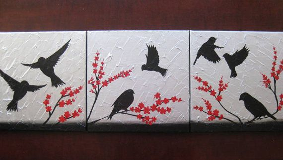 Red Black And Gray Wall Decor: Triptych Birds Art Red Gray Grey Black White Silver 3