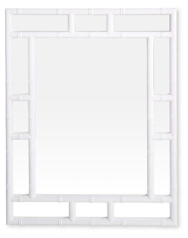 """30""""x38"""" Bamboo Mirror, White                              …"""