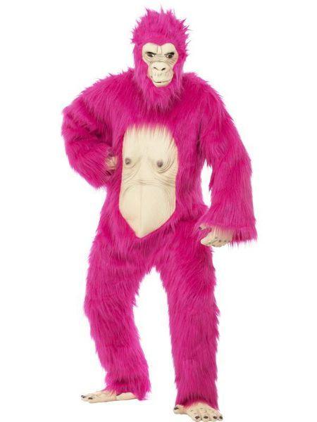 Naamiaisasu: Pinkki Gorilla deluxe. Naamiaisasun kasvot, varpaat, sormet ja vatsa ovat taipuisaa kumia, joten joraaminenkin onnistuu notkeasti. Laadukas, värikäs, ihan sairaan magee naamiaisasu!  Naamiaisasu on standardikokoinen. Sisältää: - haalari - naamari - kädet - jalat