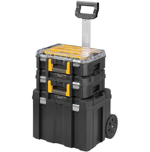 1 Dewalt Tstak tool box + 1 Tstak organizer + 1 new wheeled Tstak tool box = a Stanley FatMax tool box tower.