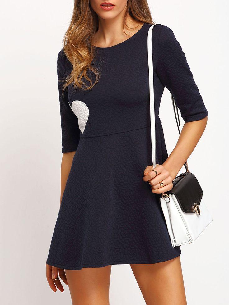 Kleid dunkelblau halbarm