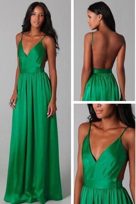 Sexy Open Back Green Evening Gown Long Prom Dresses Maxi Dress