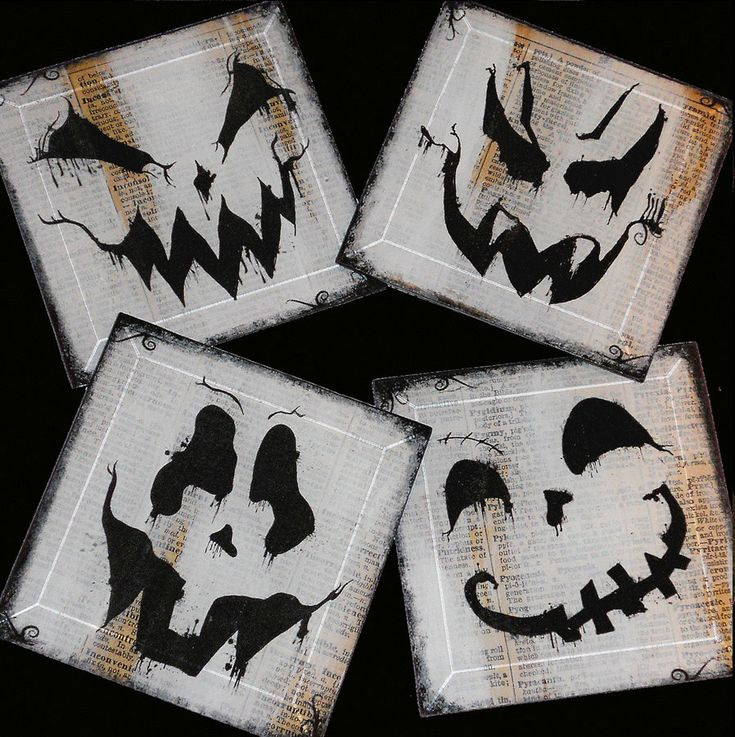 ghosts n ghoulies halloween handmade glass coaster set from upcycled dictionary page book art