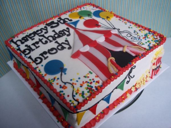 Carnival Birthday Cake - really cute for a flat cake