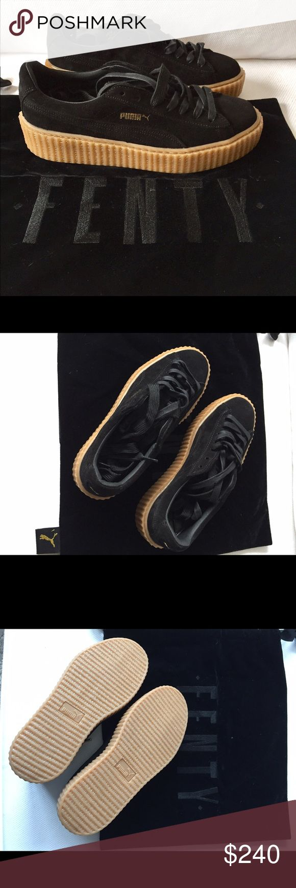 Rhianna Puma Fenty Creeper Sneaker Black/Gum Rhianna Puma Fenty Creeper Sneaker, brand new never been worn. Comes with Fenty black velvet duster bag. No box. Puma Shoes Sneakers