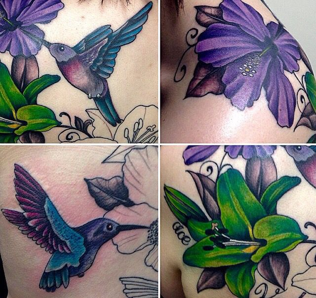 Hibiscus and hummingbird shoulder and back tattoo. Colour Edmonton tattoo artists