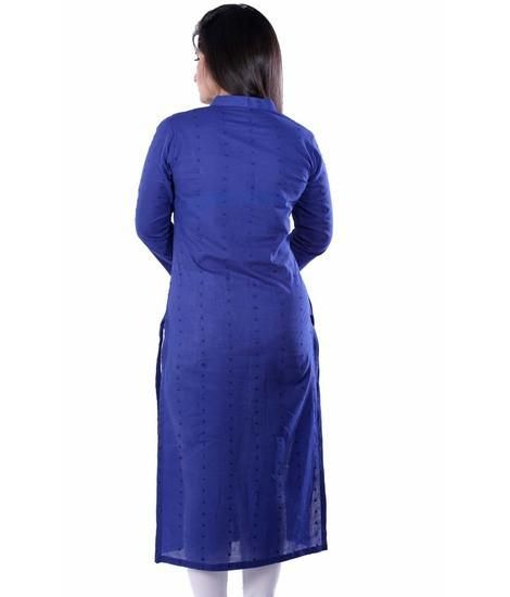 LadyIndia.com #Kurtis, Attractive Cotton Stylish Blue Kurti For Women, Kurtis, Kurtas, Cotton Kurti, https://ladyindia.com/collections/ethnic-wear/products/attractive-cotton-stylish-blue-kurti-for-women