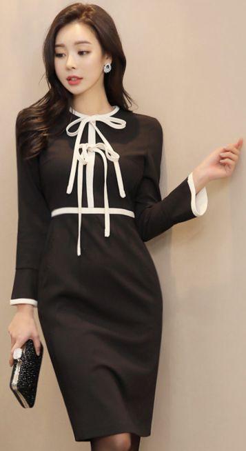 StyleOnme_Color Trim Line Double Ribbon Dress #black #white #ribbon #elegant #dress #koreanfashion #kstyle #kfashion #winterlook #seoul