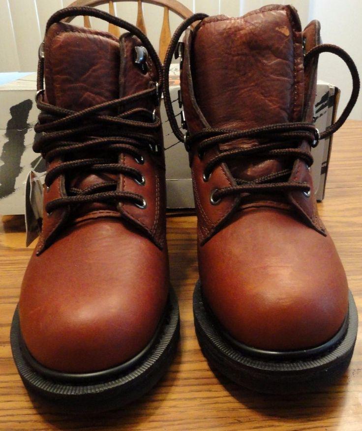 NWT Red Wing Worx Women's 5524 Steel Toe Leather Brown Work Boots Sz 7W Lug Sole #RedWingWorx #SteelToeWorkBoots