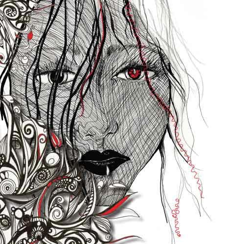 """Pen and Ink Illustration """"Hiding inside our pretty"""" by illustrator Jo Story"""