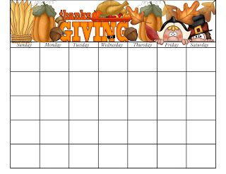 Free Printable November Calender Page.  You can do a new one each year since you add the dates yourself.  She has a free page for every month, and they're all cute.